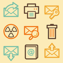 E-mail web icons set in retro style
