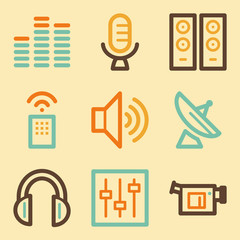 Media web icons set in retro style