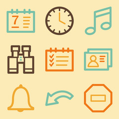 Organizer web icons set in retro style