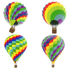 set hot air balloon isolated on white background