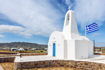 Small white chapel on the island of Mykonos