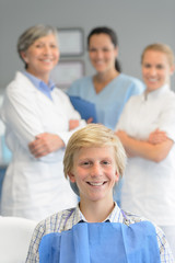 Teenage patient professional dentist team checkup