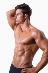Young shirtless muscular man