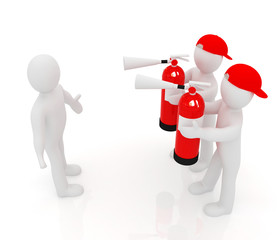 3d mans with red fire extinguisher. The concept of confrontation