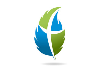 cross leaf spirit christ logo