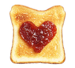 Toast with jam in shape of hearts