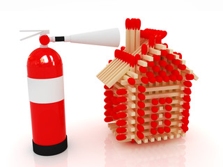 Red fire extinguisher and log house from matches pattern