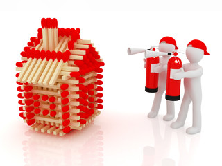 3d man with red fire extinguisher and log houses from matches pa