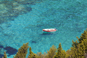 Boat on the sea. Corfu. Greece.