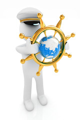 Sailor with gold steering wheel and earth. Trip around the world