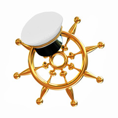 Marine cap on gold marine steering wheel