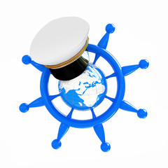Steering wheel with Earth, and marine cap . Trip around the worl