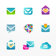 Vector logos set based on envelope symbol. E-mail signs.
