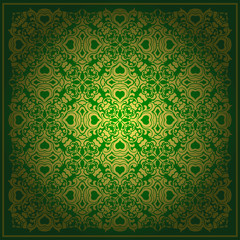 Abstract green background baroque vector
