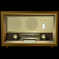 retro radio isolated on black background