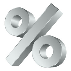 Silver Percent Sign 3D Sale Angled