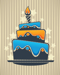 vector background with image of birthday cake