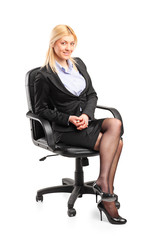 Businesswoman sitting in an office chair