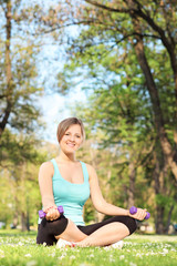 Active female exercising in park