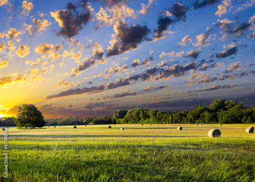 Deurstickers Weide, Moeras Hay Bales at Sunrise