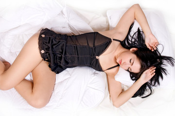 Beautiful woman sleep on bed