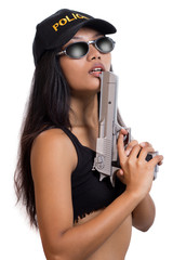Police woman with a gun