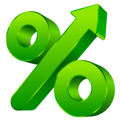 Percent Sign Arrow Up Green