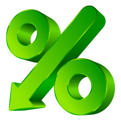 Percent Sign Arrow Down Green