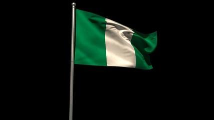 Nigeria national flag waving on flagpole
