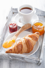 fresh croissants with jam for breakfast on tray