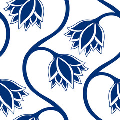 Blue flowers seamless pattern.