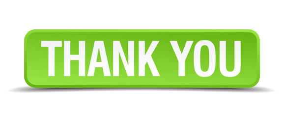 Thank you green 3d realistic square isolated button