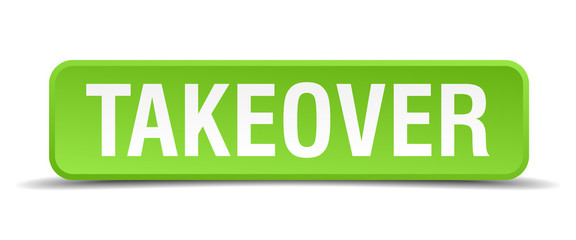 Takeover green 3d realistic square isolated button