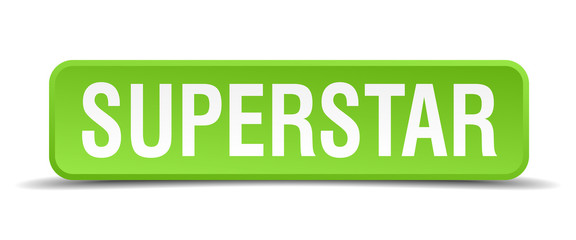 Superstar green 3d realistic square isolated button