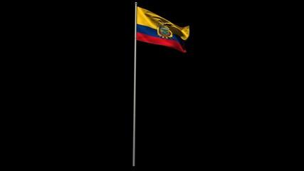 Ecuador national flag waving on flagpole