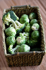 brussels sprouts and broccoli in a basket