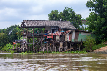 Traditional stilt houses in Ayutthaya