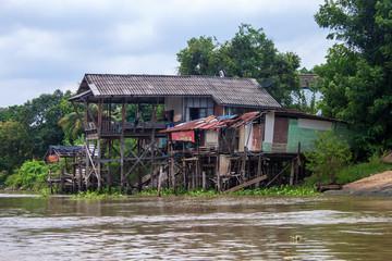 Traditional stilt houses in Ayutthaya