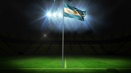 Argentina national flag waving on flagpole