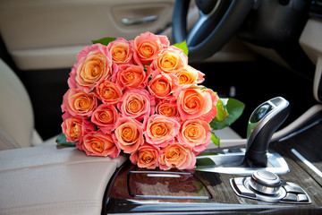 bouquet in a car seat