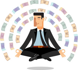 Illustration businessman meditates