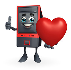Computer Cabinet Character with heart