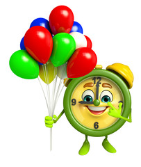 Table clock character with balloons