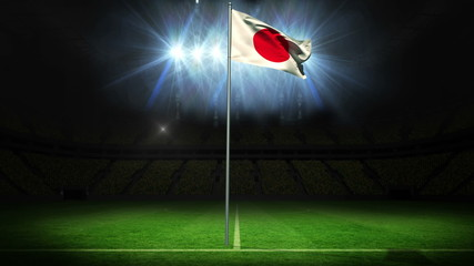 Japan national flag waving on flagpole