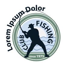 Wędkarstwo logo, logotyp 1 rybak