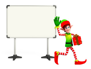 Elves character with display board