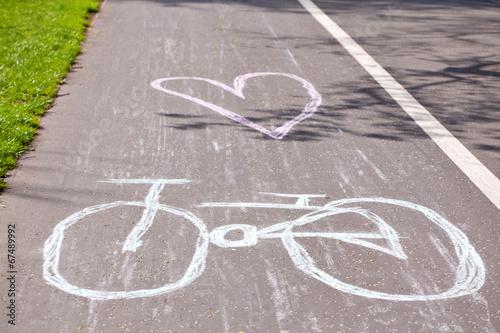 Leinwandbild Motiv Bicycle way in park