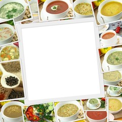 Photos collection of different types of soup with copy space
