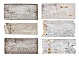 collection of various empty wooden sign on white background. eac poster