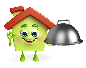 House character with cooking pot